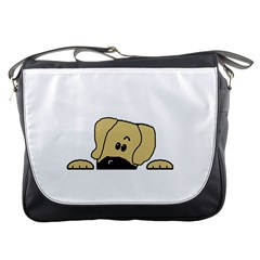 Peeping Fawn Great Dane With Undocked Ears Messenger Bags