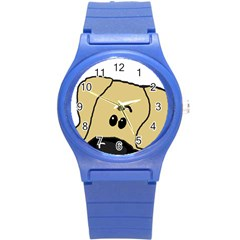Peeping Fawn Great Dane With Undocked Ears Round Plastic Sport Watch (S)