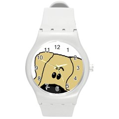Peeping Fawn Great Dane With Undocked Ears Round Plastic Sport Watch (M)