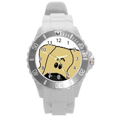 Peeping Fawn Great Dane With Undocked Ears Round Plastic Sport Watch (L)