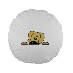 Peeping Fawn Great Dane With Undocked Ears Standard 15  Premium Round Cushions