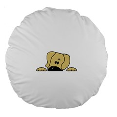 Peeping Fawn Great Dane With Undocked Ears Large 18  Premium Round Cushions