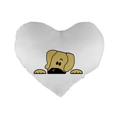 Peeping Fawn Great Dane With Undocked Ears Standard 16  Premium Heart Shape Cushions