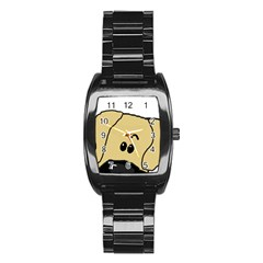 Peeping Fawn Great Dane With Undocked Ears Stainless Steel Barrel Watch