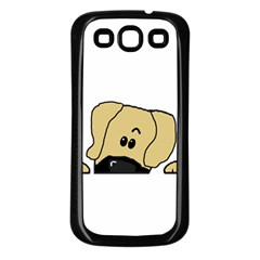 Peeping Fawn Great Dane With Undocked Ears Samsung Galaxy S3 Back Case (Black)