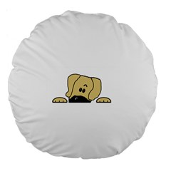 Peeping Fawn Great Dane With Undocked Ears Large 18  Premium Flano Round Cushions