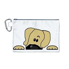 Peeping Fawn Great Dane With Undocked Ears Canvas Cosmetic Bag (M)