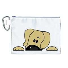 Peeping Fawn Great Dane With Undocked Ears Canvas Cosmetic Bag (L)