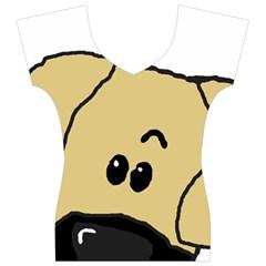 Peeping Fawn Great Dane With Undocked Ears Women s V-Neck Cap Sleeve Top