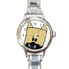 Peeping Fawn Great Dane With Docked Ears Round Italian Charm Watches