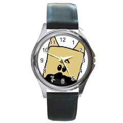 Peeping Fawn Great Dane With Docked Ears Round Metal Watches