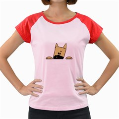 Peeping Fawn Great Dane With Docked Ears Women s Cap Sleeve T-Shirt