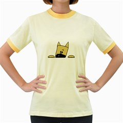 Peeping Fawn Great Dane With Docked Ears Women s Fitted Ringer T-Shirts