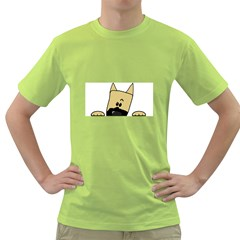 Peeping Fawn Great Dane With Docked Ears Green T-Shirt