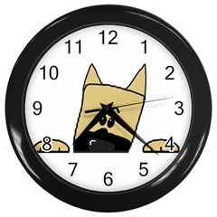 Peeping Fawn Great Dane With Docked Ears Wall Clocks (Black)