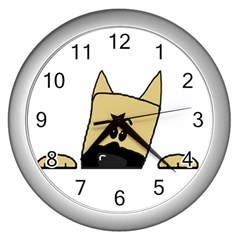 Peeping Fawn Great Dane With Docked Ears Wall Clocks (Silver)