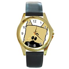 Peeping Fawn Great Dane With Docked Ears Round Gold Metal Watches