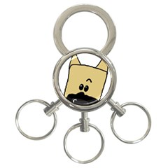Peeping Fawn Great Dane With Docked Ears 3-Ring Key Chains