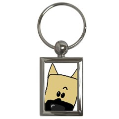 Peeping Fawn Great Dane With Docked Ears Key Chains (Rectangle)