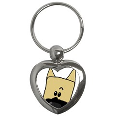 Peeping Fawn Great Dane With Docked Ears Key Chains (Heart)