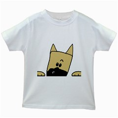 Peeping Fawn Great Dane With Docked Ears Kids White T-Shirts