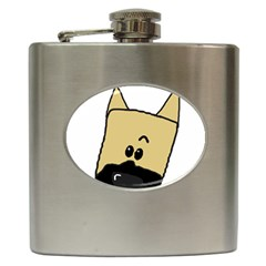 Peeping Fawn Great Dane With Docked Ears Hip Flask (6 oz)