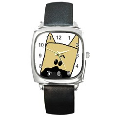 Peeping Fawn Great Dane With Docked Ears Square Metal Watches