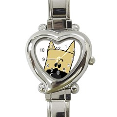 Peeping Fawn Great Dane With Docked Ears Heart Italian Charm Watch