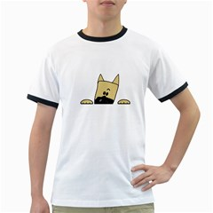 Peeping Fawn Great Dane With Docked Ears Ringer T-Shirts