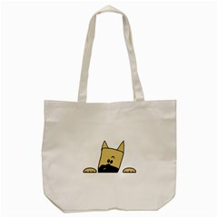 Peeping Fawn Great Dane With Docked Ears Tote Bag (Cream)