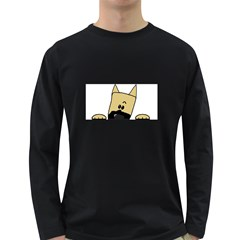 Peeping Fawn Great Dane With Docked Ears Long Sleeve Dark T-Shirts