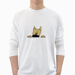 Peeping Fawn Great Dane With Docked Ears White Long Sleeve T-Shirts