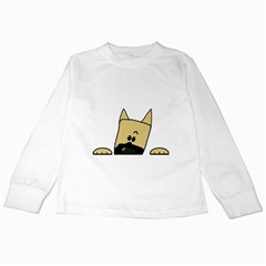 Peeping Fawn Great Dane With Docked Ears Kids Long Sleeve T-Shirts