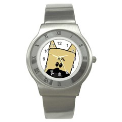 Peeping Fawn Great Dane With Docked Ears Stainless Steel Watches