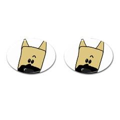 Peeping Fawn Great Dane With Docked Ears Cufflinks (Oval)