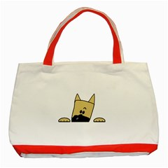 Peeping Fawn Great Dane With Docked Ears Classic Tote Bag (Red)