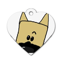 Peeping Fawn Great Dane With Docked Ears Dog Tag Heart (Two Sides)