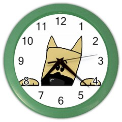 Peeping Fawn Great Dane With Docked Ears Color Wall Clocks