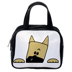 Peeping Fawn Great Dane With Docked Ears Classic Handbags (One Side)