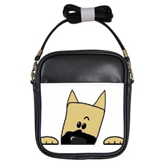 Peeping Fawn Great Dane With Docked Ears Girls Sling Bags