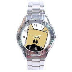 Peeping Fawn Great Dane With Docked Ears Stainless Steel Men s Watch