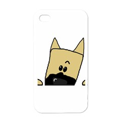 Peeping Fawn Great Dane With Docked Ears Apple iPhone 4 Case (White)