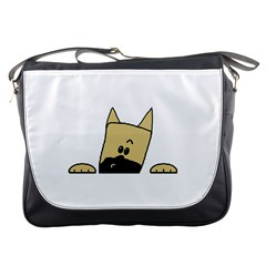 Peeping Fawn Great Dane With Docked Ears Messenger Bags