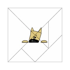 Peeping Fawn Great Dane With Docked Ears Acrylic Tangram Puzzle (6  x 6 )