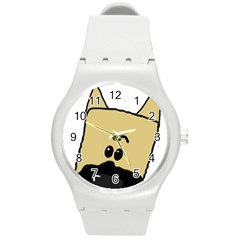 Peeping Fawn Great Dane With Docked Ears Round Plastic Sport Watch (M)