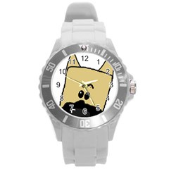 Peeping Fawn Great Dane With Docked Ears Round Plastic Sport Watch (L)