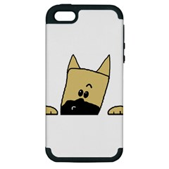 Peeping Fawn Great Dane With Docked Ears Apple iPhone 5 Hardshell Case (PC+Silicone)