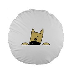 Peeping Fawn Great Dane With Docked Ears Standard 15  Premium Round Cushions