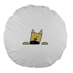 Peeping Fawn Great Dane With Docked Ears Large 18  Premium Round Cushions