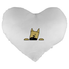 Peeping Fawn Great Dane With Docked Ears Large 19  Premium Heart Shape Cushions